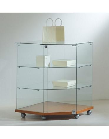 Banco vetrina angolare basso cm 68x68x90h