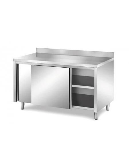 Tavolo Armadiato Acciaio Inox Con Alzatina Cm 160x70x85 90h Piano Di Lavoro Con Alzatina Profondita 70 Cm Tavoli Da Lavoro