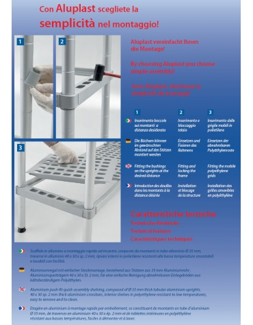 Scaffale per cella frigorifera o magazzino cm 70x30x160h