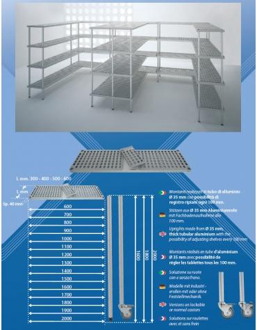 Scaffale per cella frigorifera o magazzino cm 70x50x160h