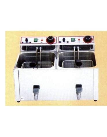 Friggitrice da banco con rubinetto di scarico Lt 10+10 Monofase
