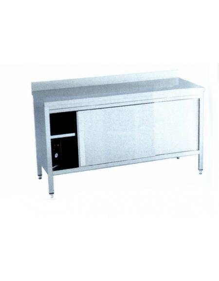 Tavolo armadiato caldo inox Dimensioni cm. 200x60x90h