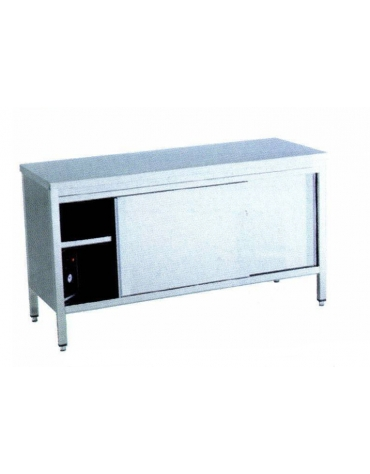 Tavolo armadiato caldo inox Dimensioni cm 140x70x90h