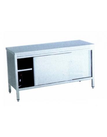 Tavolo armadiato caldo inox Dimensioni cm. 200x70x90h