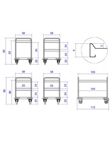 Carrello inox per trasporto pesante-3 piani a vasca cm108x61x96h