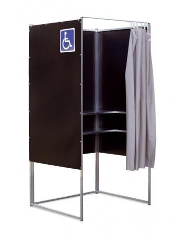 Cabina elettorale polivalente alluminio con tendina e scrittoi