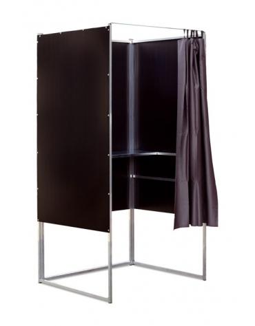Cabina elettorale in alluminio con tendina e scrittoio