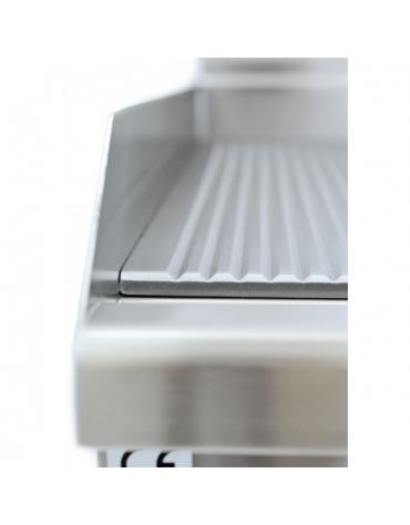 Fry Top a gas piastra cromata ½ liscia e ½ rigata cm 60x60x28h