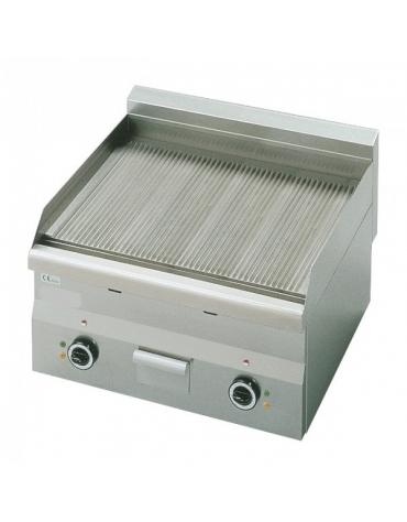 Fry Top elettrico da banco professionale con piastra tutta rigata-trifase - DOPPIO - cm 60x60x28h