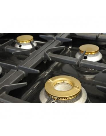 Cucina a gas 6 fuochi con forno a gas GN 1/1 e armadio - cm 110x70x85/90h
