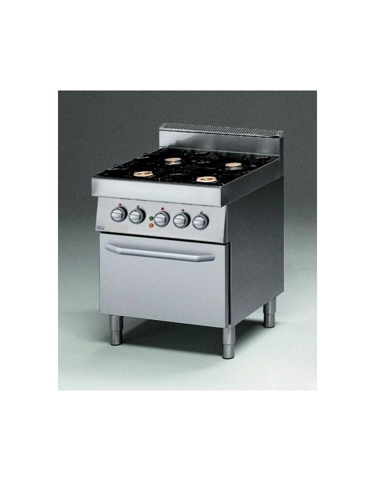 Cucina a gas 4 fuochi con forno elettrico e bacinelle in acciaio ...