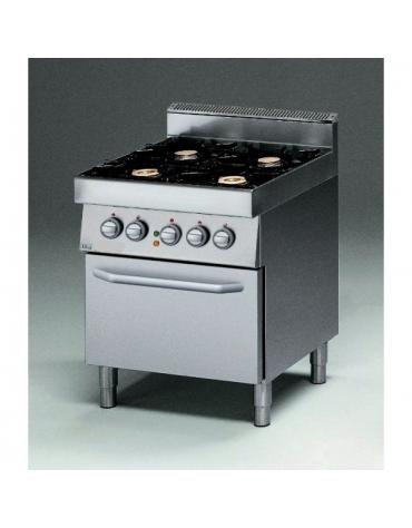 Cucina a gas 4 fuochi con forno elettrico e bacinelle in acciaio inox - cm 70x70x85/90h