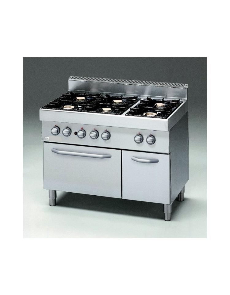 Cucina A Gas 4 Fuochi Alta Potenza Con Forno A Gas Gn 1 1