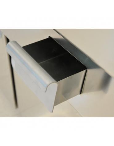 Fry Top a gas con piastra liscia cromata su armadio aperto - cm 70x70x85h