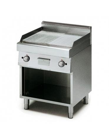 Fry Top a gas con piastra cromata ½ liscia e ½ rigata su armadio -  cm 70x70x85h