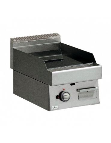 Fry Top a gas con piastra liscia cromata versione top da banco - cm 40x70x28h
