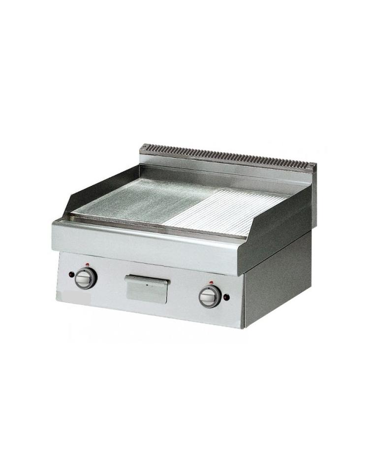 fry top a gas piastra cromata liscia e rigata cm