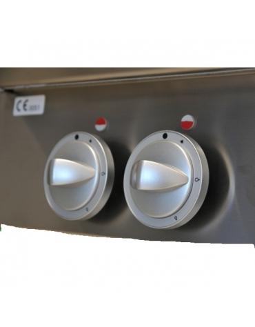 Cucina a gas, 8 fuochi con 2 forni elettrici statici GN 2/1 - cm 160x90x85h