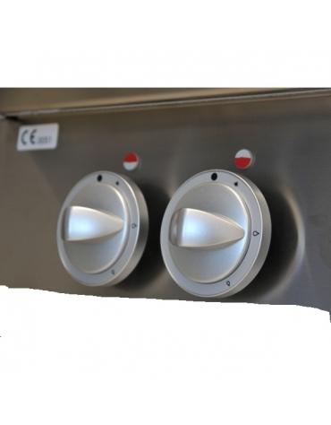 Piano di cottura a gas, 8 fuochi su armadio aperto cm 160x90x85h - Bacinelle inox