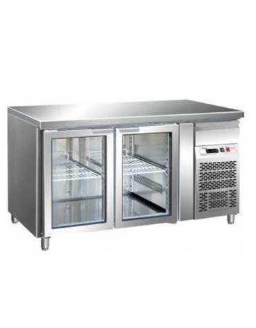 Tavolo refrigerato positivo 2 Porte a vetro cm. 136x70x85h