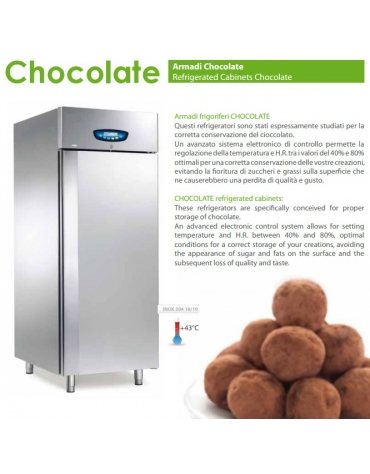 Armadio frigorifero per cioccolato 1 porta N° 18 teglie cm 60x80