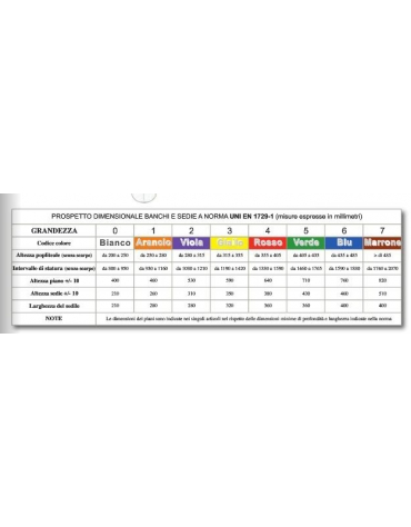 Banco monoposto bicolonna con poggiapiedi sottopiano polipropilene colorato CM 70X50