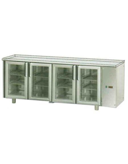 Piano Di Lavoro In Vetro : Tavolo refrigerato gn con porte in vetro luci