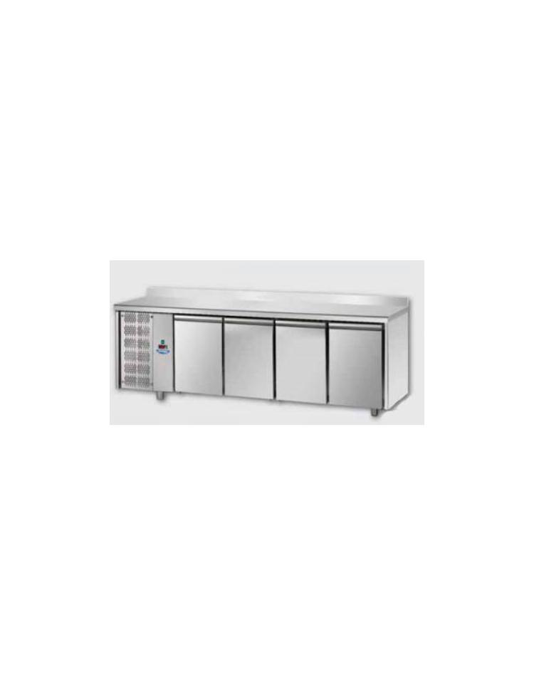 Tavolo refrigerato 4 porte piano in acciaio inox alzatina 100 mm e gruppo motore a sx cm - Alzatina cucina acciaio ...
