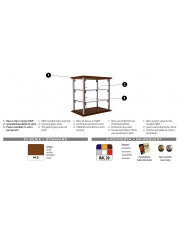 Vetrina neutra da banco per brioches cm 35x35x39h - N° 2 Piani espositivi - Montanti in alluminio/argento