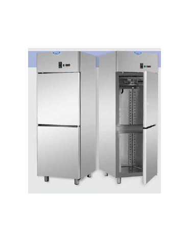 Armadio statico GN 2/1 in Acciaio Inox a temperatura normale con allestimento Carne con 2 sportelli cm 71x80x203h
