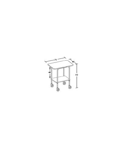 Carrello in legno 2 piani - wengè - Dimensioni cm 71x46x80h