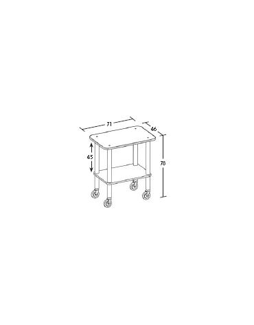 Carrello in legno 2 piani - ciliegio - Dimensioni cm 71x46x78h