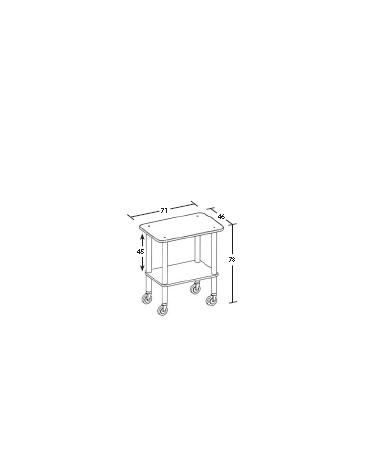 Carrello in legno 2 piani - Wengè - Dimensioni cm 71x46x78h
