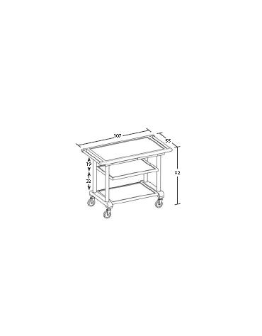Carrello in legno 2 piani - wengè - Dimensioni cm 107x55x82h