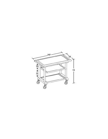 Carrello in legno 3 piani - wengè - Dimensioni cm 107x55x82h