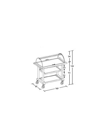 Carrello in legno 3 piani - noce e/o wengè - cupola in plexiglass cm 107x55x108h