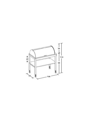 Carrello in legno laccato - antracite/panna/tortora - portapiatti e cupola cm 100x56x110h