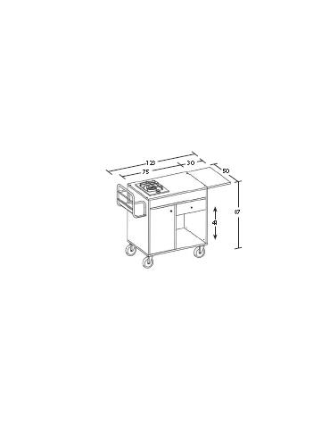 Carrello in legno - ciliegio e/o wengè - 1 fuoco singolo cm 95x50x87h