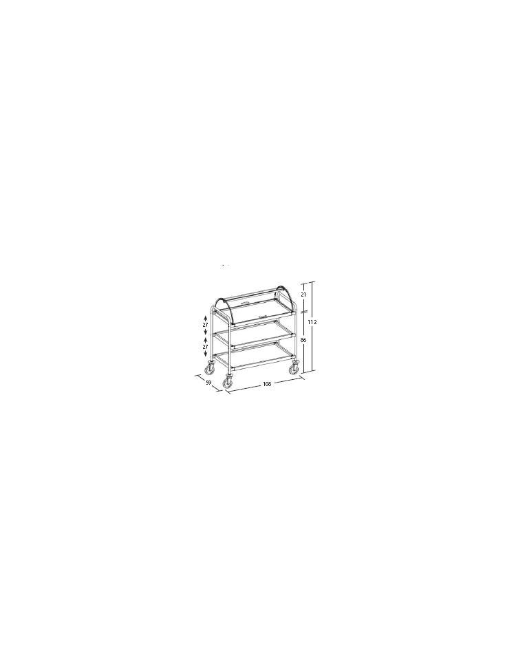 Carrello cromato in simil legno noce 3 piani con for Piani di cupola pdf
