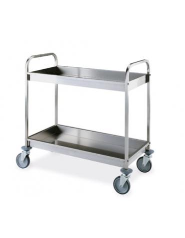 carrello in acciaio inox a vasca 2 piani cm 58x51x91h