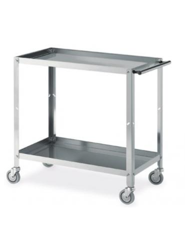 carrello in acciaio inox a vasca 2 piani cm 89x48x85h