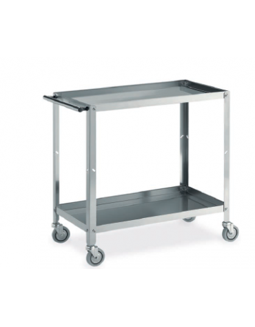 carrello in acciaio inox a vasca 2 piani cm 99x53x85h