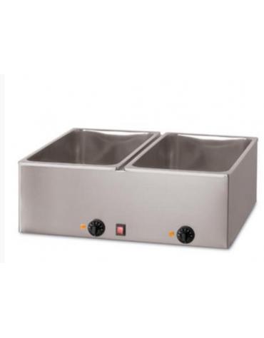 Tavola calda da banco in acciaio inox - capacità 2 x 1/1 GN cm 69x54x25h