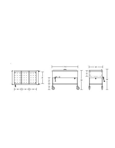 Carrello termico a giorno con coperchio - capacità 3 x 1/1 GN cm 114x60x90h