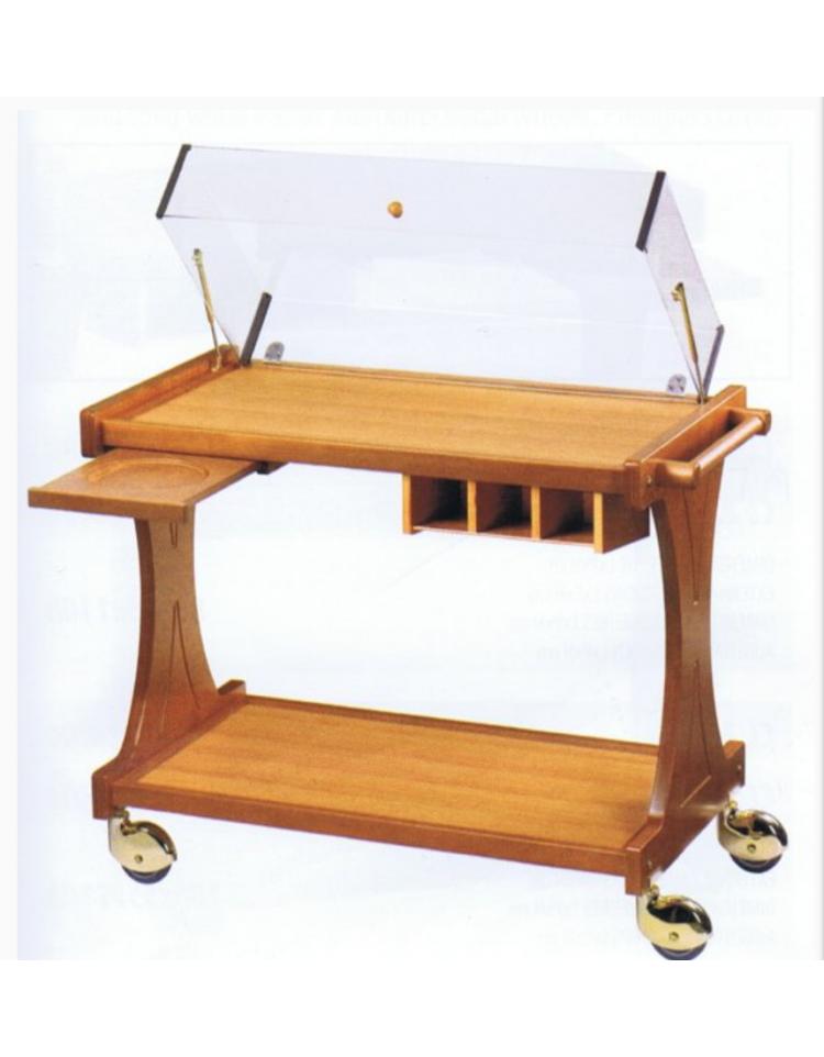 Carrello in legno 2 piani con cupola colore ciliegio o for Costruisci piani senza cupola