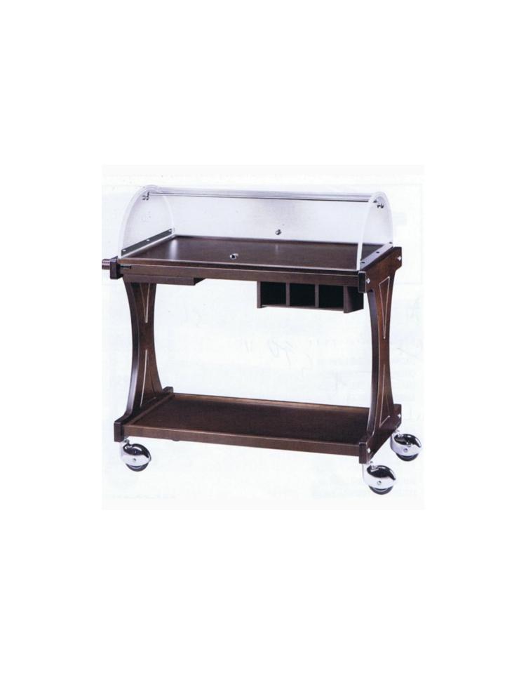 Carrello in legno 2 piani con cupola colore weng o for Piani di cupola pdf