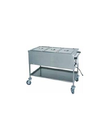 Carrello termico in acciaio inox con resistenza a secco 2x1/1 GN (senza acqua) cm 84x65x85h