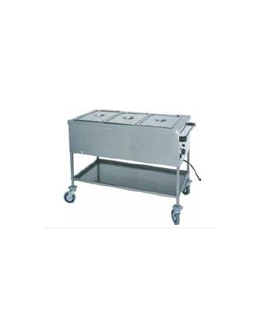 Carrello termico in acciaio inox con resistenza a secco 3x1/1 GN (senza acqua) cm 117x65x85h