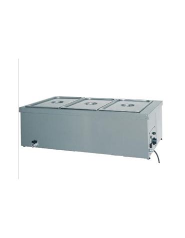 Tavola calda da banco inox bagnomaria - capacità 2x 1/1 GN cm 78x60x32h