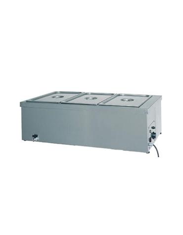 Tavola calda da banco inox bagnomaria - capacità 3x 1/1 GN cm 110x60x32h